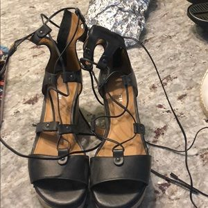 Coach wedge that lace around ankle